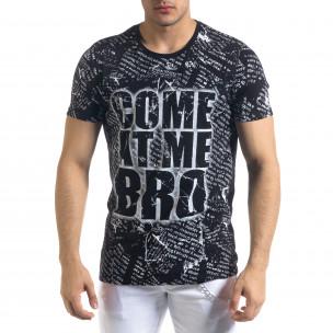 Черна мъжка тениска Come At Me