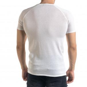 Slim fit бяла мъжка плетена блуза Biker  2
