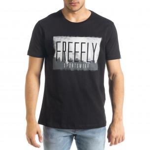 Черна мъжка тениска Freefly с бродерия