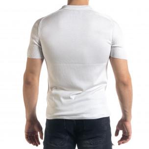 Slim fit мъжка плетена блуза в бяло  2