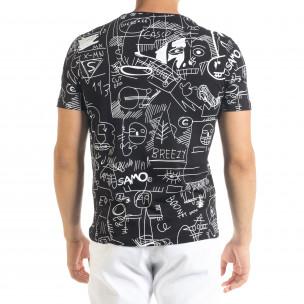 Мъжка черна тениска с принт Naivety 2