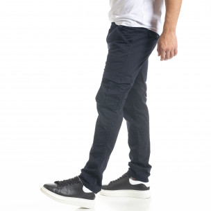 Син мъжки панталон Cargo с прави крачоли