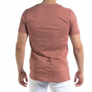 Мъжка розова тениска с принт  2