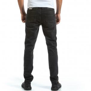 Basic Long Slim черни дънки плътен деним 2