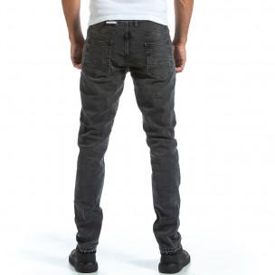 Long Slim мъжки сиви дънки плътен деним  2