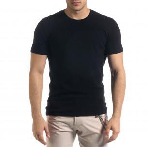 Basic мъжка плетена блуза пике в черно