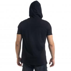 Черна мъжка тениска с качулка 2