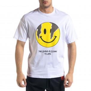 Бяла мъжка тениска Emoticon Oversize