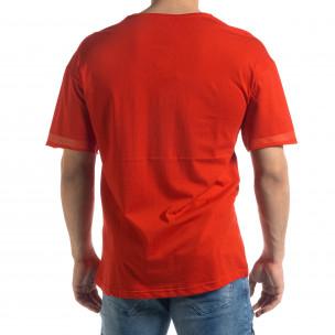 Червена мъжка тениска с принт  2