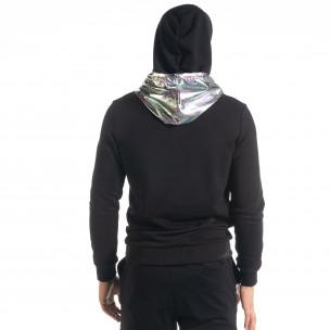 Мъжки черен суичър с лъскава качулка  2