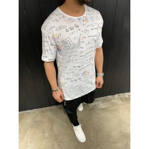 Мъжка бяла тениска принт Maths  2