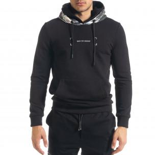 Мъжки черен суичър с лъскава качулка