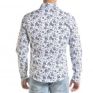 Slim fit бяла мъжка риза флорален десен  2