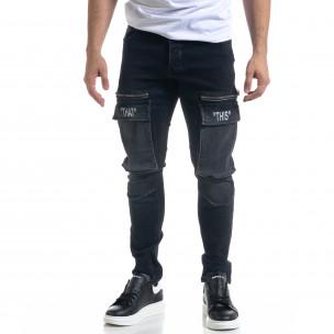 Slim fit мъжки черни дънки с джобове