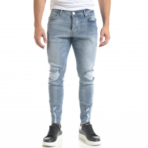 Мъжки сини дънки Skinny fit с прокъсвания