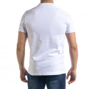 Basic мъжка бяла тениска Polo shirt  2