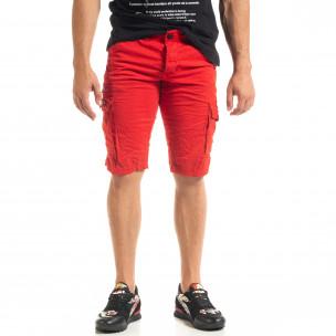 Мъжки червени къси карго панталони  2