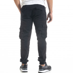 Мъжки черен карго панталон с ластик на крачолите  2