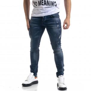 Мъжки сини дънки Slim fit с пръски боя