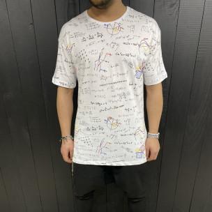 Мъжка бяла тениска принт Maths