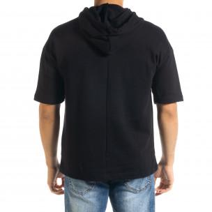 Мъжки суичър с къси ръкави в черно  2