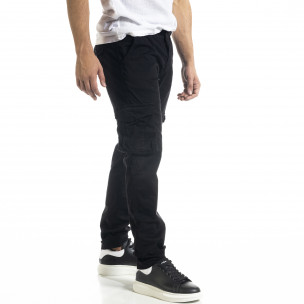 Черен мъжки панталон Cargo с прави крачоли 2