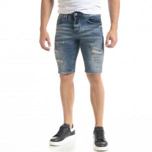 Destroyed Slim fit мъжки къси дънки с пръски боя  2