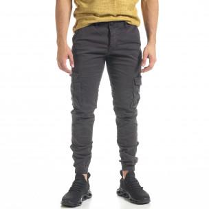 Мъжки сив карго панталон с ластик на крачолите 2