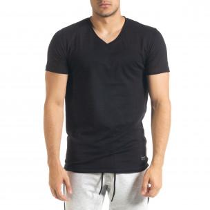 Basic V-Neck черна тениска