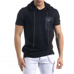 Черна мъжка тениска с джоб и качулка