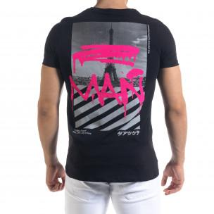 Мъжка черна тениска с прозрачен джоб  2