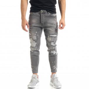Slim fit мъжки сиви дънки Destroyed с кръпки   2