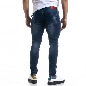 Мъжки сини дънки Slim fit с пръски боя  2