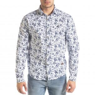 Slim fit бяла мъжка риза флорален десен