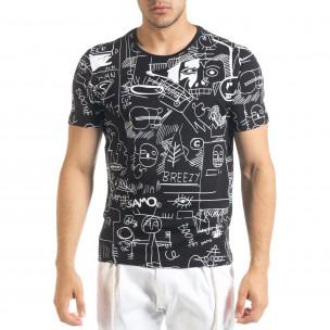 Мъжка черна тениска с принт Naivety
