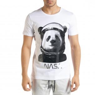 Мъжка тениска Panda NASA в бяло
