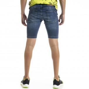 Slim fit мъжки сини къси дънки с прокъсвания 2