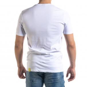 Бяла мъжка тениска неонов принт  2