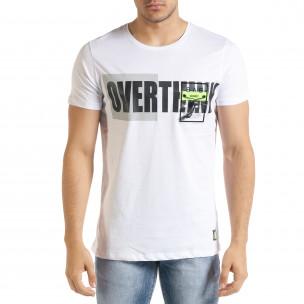 Бяла мъжка тениска с прозрачен джоб