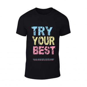 Мъжка черна тениска Try Your Best