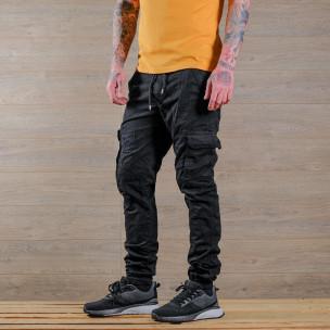 Мъжки черен карго панталон с връзки на кръста  2
