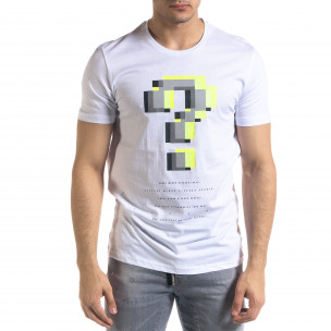 Бяла мъжка тениска пикселиран принт