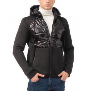 Комбинирано мъжко яке черен контраст. Размер М