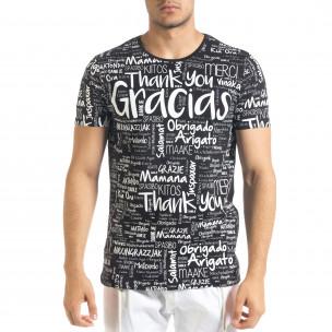 Мъжка черна тениска Thank You