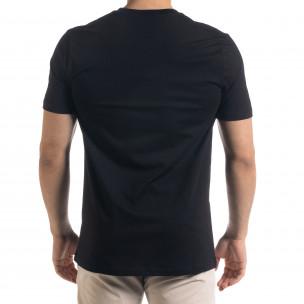 Мъжка черна тенска V-образна платка  2