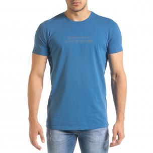 Мъжка синя тениска с принт