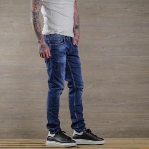 Slim fit мъжки сини дънки с леки прокъсвания  2