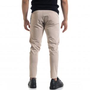 Лек мъжки бежов панталон с аксесоар  2