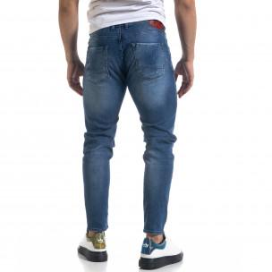 Мъжки сини дънки Slim fit с акценти  2