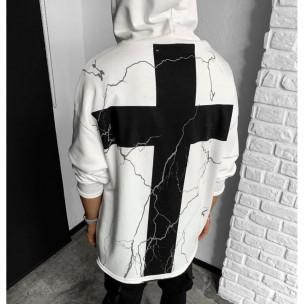 Мъжки бял суичър с кръстове 2